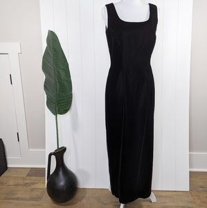Vintage 90's Black Velvet Full Length Formal Gown